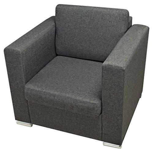 Festnight Sessel Sofa Armsessel Relaxsessel Polstersessel Stoffsessel Dunkelgrau 82 x 73 x 78 cm für Wohnzimmer Schlafzimmer
