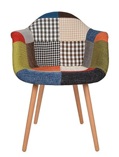 ts-ideen 1 x Design Klassiker Patchwork Sessel Retro 50er Jahre Barstuhl Wohnzimmer Küchen Stuhl Esszimmer Sitz Holz Leinen bunt