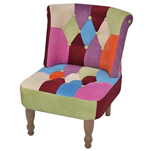 vidaXL Patchwork Sessel bunt Stuhlsessel Sessel Stuhl Armless Sofa Clubsessel