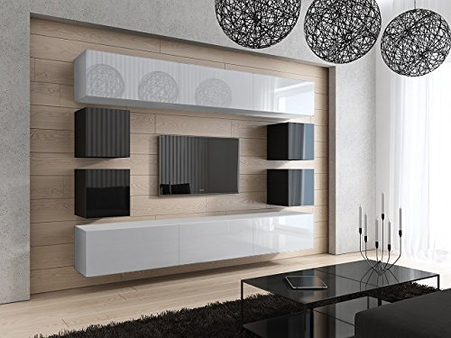 HomeDirectLTD FUTURE 17 Moderne Wohnwand, TV-Schrank, Neue Garnitur, Große Farbauswahl (Weiß MAT base/Weiß MAT front)