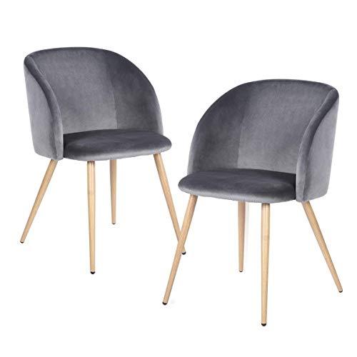 H.J WeDoo 2er Set Esszimmerstuhl Samt Weich Kissen Sitz und Rücken mit Massivholz Bein Küche Stühle Lounge Sessel Clubsessel Fernsehsessel