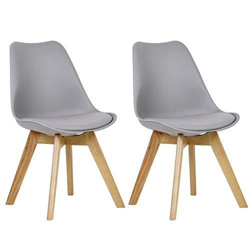WOLTU BH29-2 2 x Esszimmerstühle 2er Set Esszimmerstuhl Design Stuhl Küchenstuhl Holz