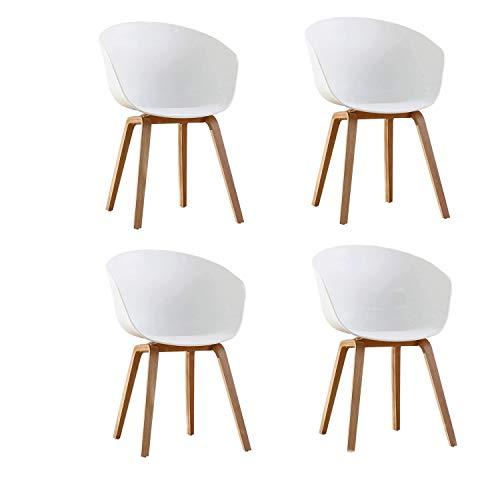 Naturelifestore 4er Set Esszimmerstuhl Scandinavian Sessel Beistellstuhl Retro-Design mit Soliden Metallbeinen